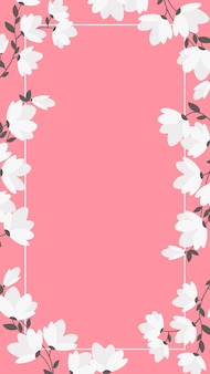 Sfondo per cellulare con fiori bianchi e cornice