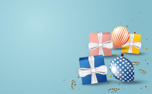 Sfondo per feste di compleanno con scatola regalo colorato e illustrazioni di palloncini.