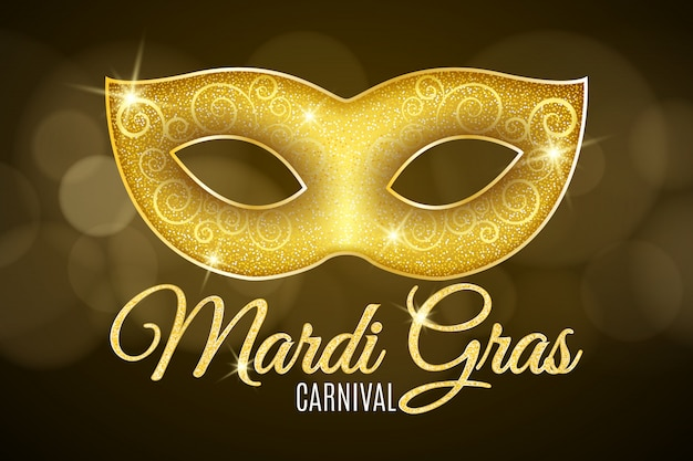 Sfondo per il carnevale di mardi gras. testo glitter oro. lussuosa maschera glitter oro con scintillii per una mascherata.