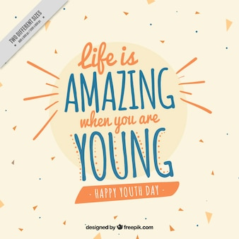 Sfondo per il giorno della gioventù con una bella citazione
