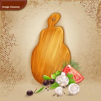 Sfondo per il testo con una tavola di legno e verdure fresche.