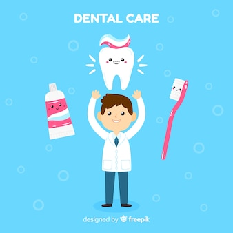 Sfondo personaggio piatto dentista