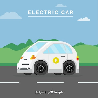 Sfondo piatto auto elettrica