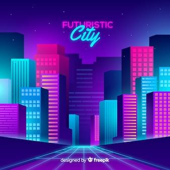 Sfondo piatto città futuristica