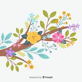 Sfondo piatto colorato ramo floreale