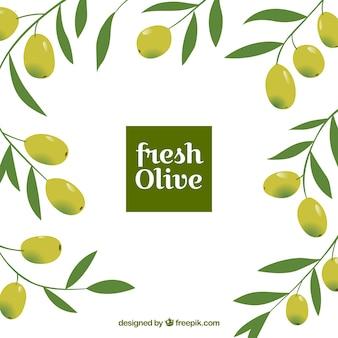 Sfondo piatto con le olive e le foglie decorative