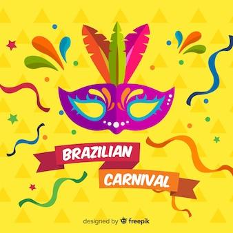Sfondo piatto di carnevale brasiliano