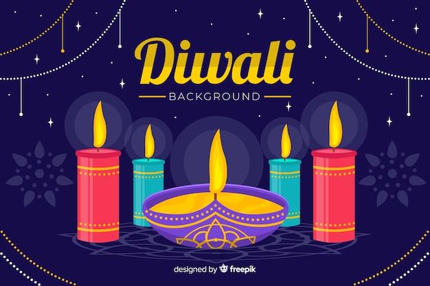 Sfondo piatto di diwali con candele