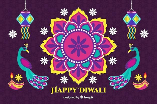 Sfondo piatto di diwali con disegno floreale e pavoni