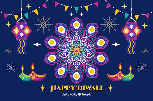 Sfondo piatto di diwali con ghirlande e candele