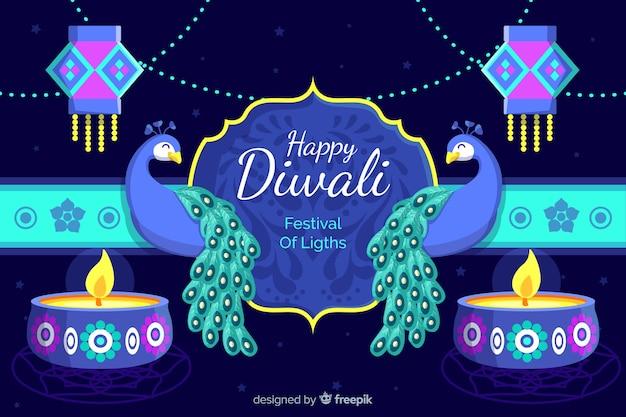 Sfondo piatto di diwali con pavoni
