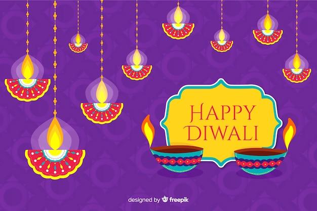 Sfondo piatto di diwali e candele sospese