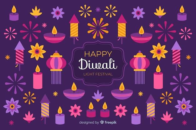Sfondo piatto di diwali e varietà di candele