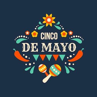 Sfondo piatto di eventi cinco de mayo