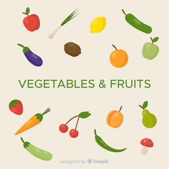 Sfondo piatto di frutta e verdura