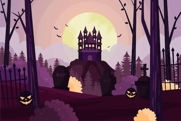 Sfondo piatto di halloween