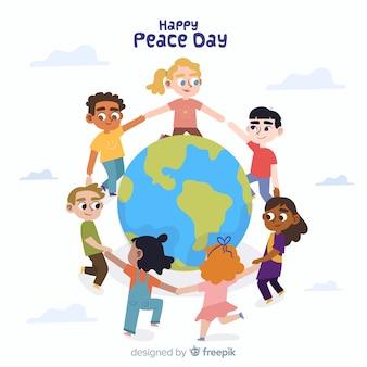 Sfondo piatto giorno di pace con i bambini