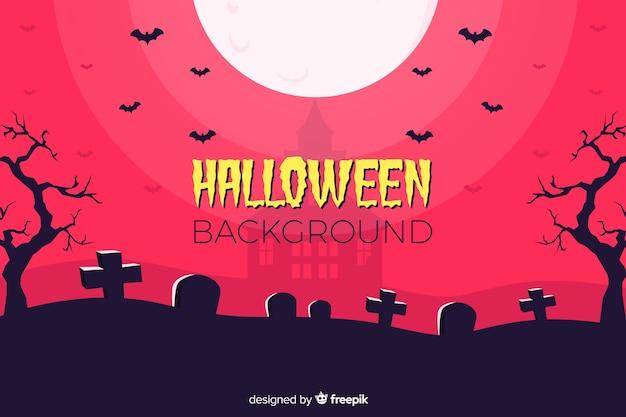 Sfondo piatto halloween con cimitero disegnato a mano
