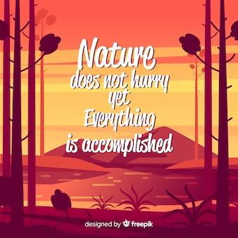 Sfondo piatto natura con citazione