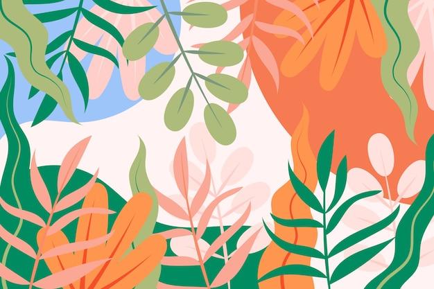 Sfondo piatto primavera con foglie colorate