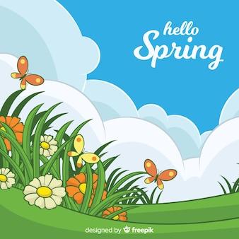 Sfondo piatto primavera
