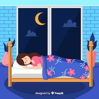 Sfondo piatto ragazza addormentata