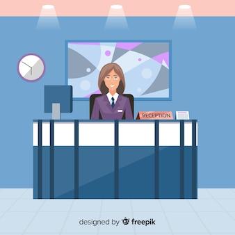 Sfondo piatto receptionist azienda