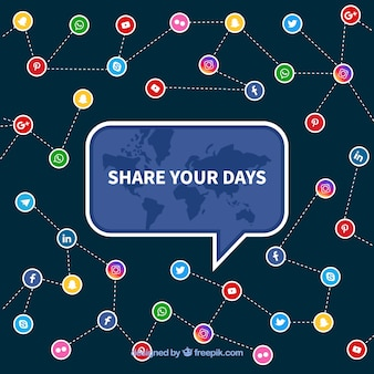 Sfondo piatto social media con icone colorate