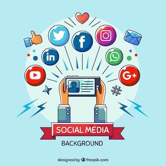 Sfondo piatto social media con il cellulare