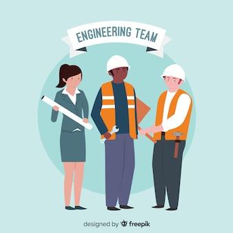 Sfondo piatto squadra di ingegneria