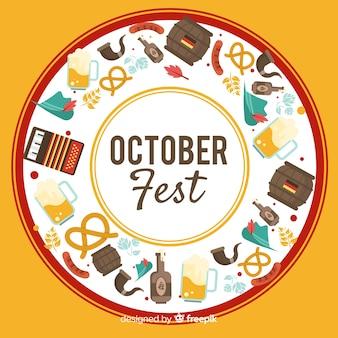 Sfondo più oktoberfest disegnato a mano con elementi