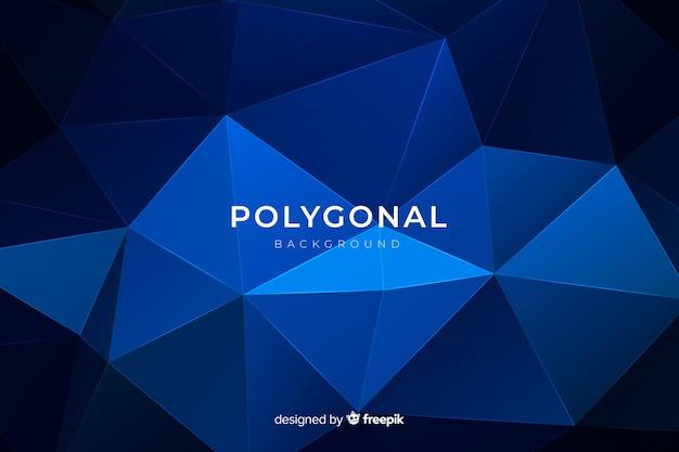 Sfondo poligonale blu scuro piatto