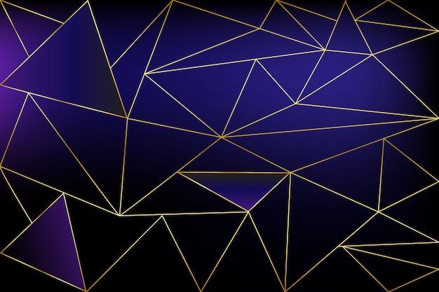 Sfondo poligonale concetto nero e oro. modello geometrico linea blu dorato per sfondi e tessuti, vettoriale