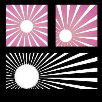 Sfondo pop art, stile giapponese, la luce correva verso un cerchio bianco nel mezzo.