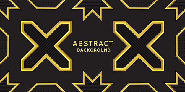 Sfondo premium nero e giallo con linee poligonali e dorate di lusso.