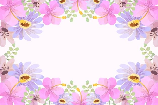 Sfondo primavera ad acquerello con fiori rosa