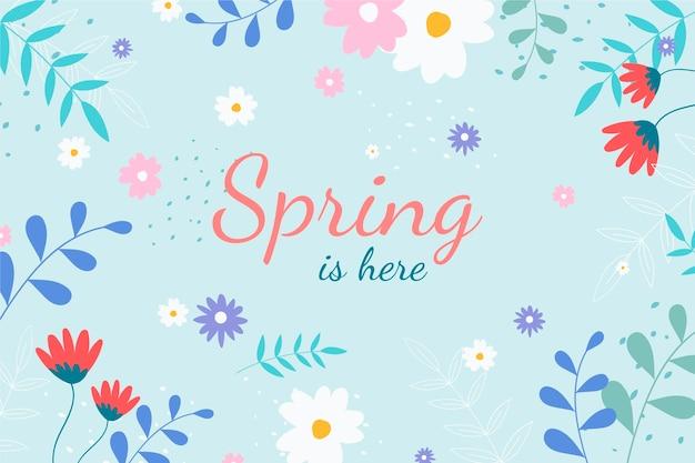 Sfondo primavera disegnata a mano con scritte