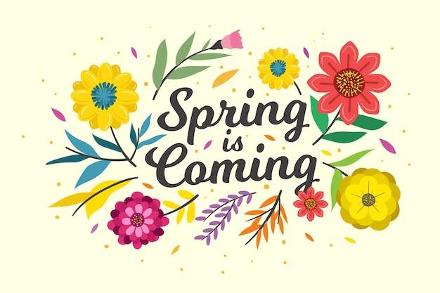 Sfondo primavera disegnati a mano con fiori colorati e foglie