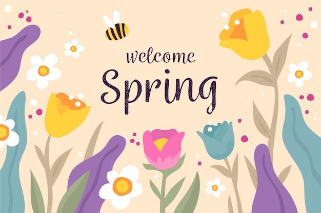Sfondo primavera disegnati a mano con tulipani