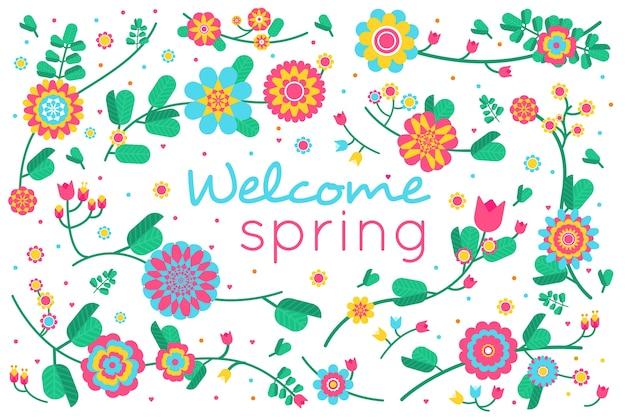 Sfondo primavera in design piatto