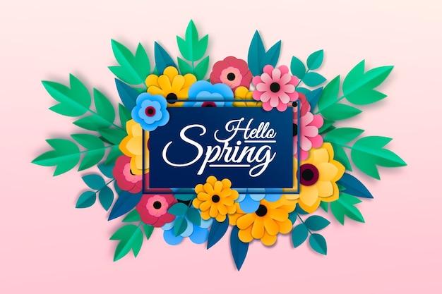 Sfondo primavera in stile carta colorata