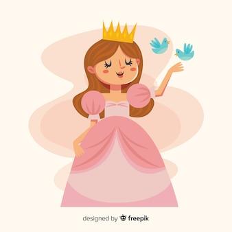 Sfondo principessa disegnato a mano