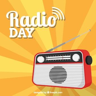 Sfondo raggera con radio in design piatto
