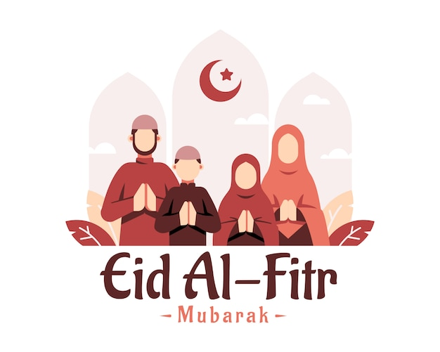 Sfondo ramadan con illustrazione famiglie musulmane