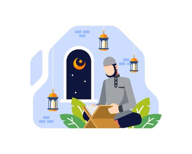 Sfondo ramadan con un maschio musulmano leggendo il corano nell'illustrazione moschea