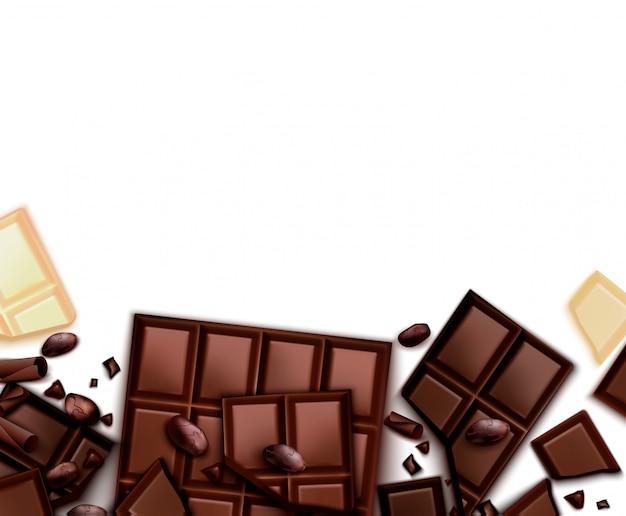 Sfondo realistico al cioccolato con cornice di immagini con barrette di cioccolato e sfondo bianco con spazio vuoto