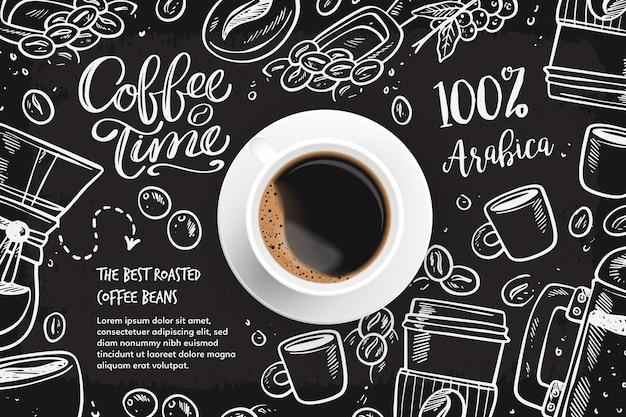 Sfondo realistico caffè con disegni