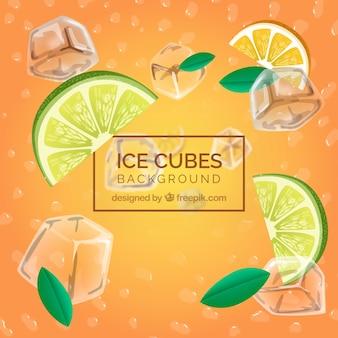 Sfondo realistico con cubetti di ghiaccio e ingredienti freschi