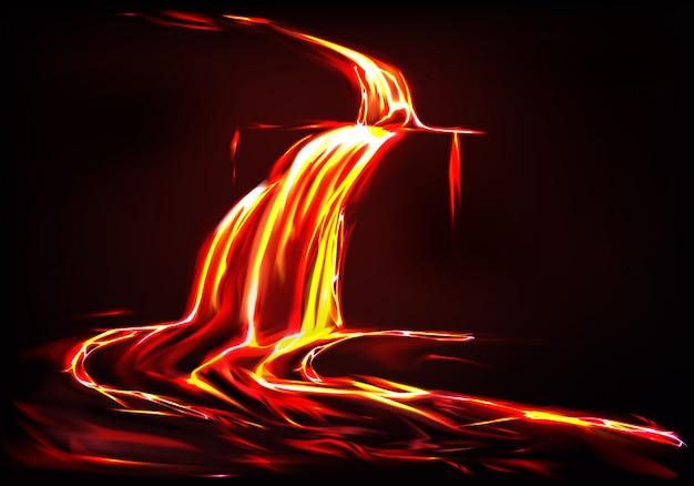 Sfondo realistico con fiume di lava, flusso di fuoco liquido nel buio.