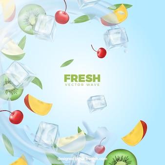 Sfondo realistico con ghiaccio e ingredienti